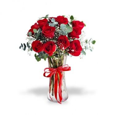 12 Rosas en florero