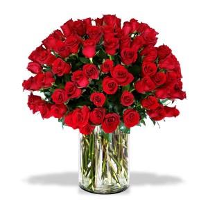 100 Rosas Rojas en Florero