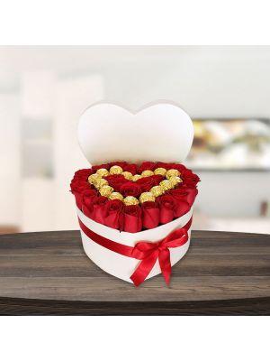 Corazón Rosas y Ferrero